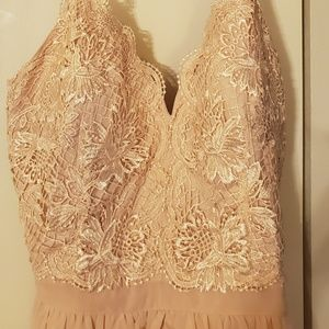Blush, soft pink embroidered chiffon gown/Maxi